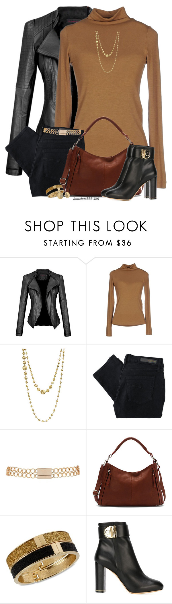 """Leather Jacket"" by houston555-396 ❤ liked on Polyvore featuring Marco Bicego, Nobody Denim, River Island, Osgoode Marley, Betsey Johnson, Salvatore Ferragamo, Kate Spade, women's clothing, women's fashion and women"