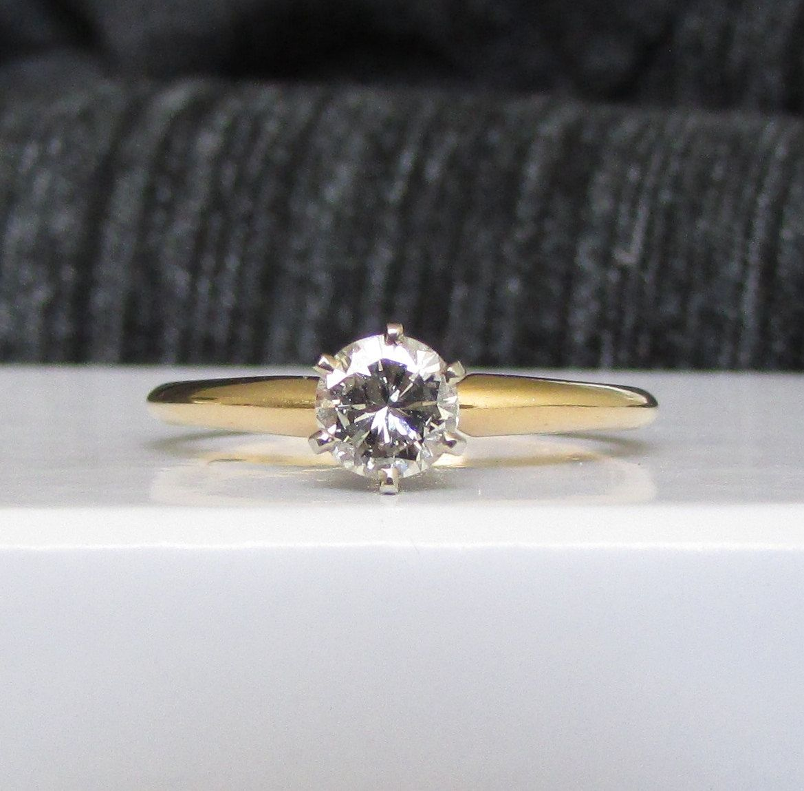 Vintage Classic 40 Carat Diamond Solitaire Engagement Ring At An Amazing Price Solid 14k Yello Diamond Solitaire Engagement Ring Si1 Diamond Engagement Rings