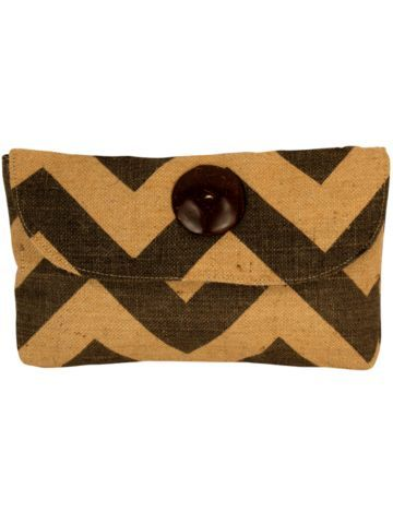 $10.50 Gray and Natural Chevron Jute Clutch