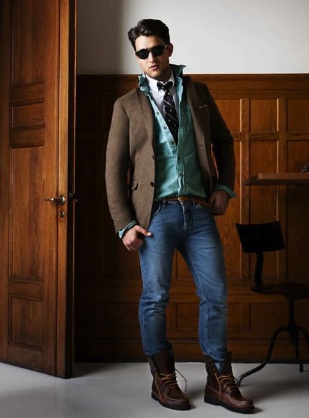 Men's Dark Brown Wool Blazer, Aquamarine Denim Shirt, White Long ...