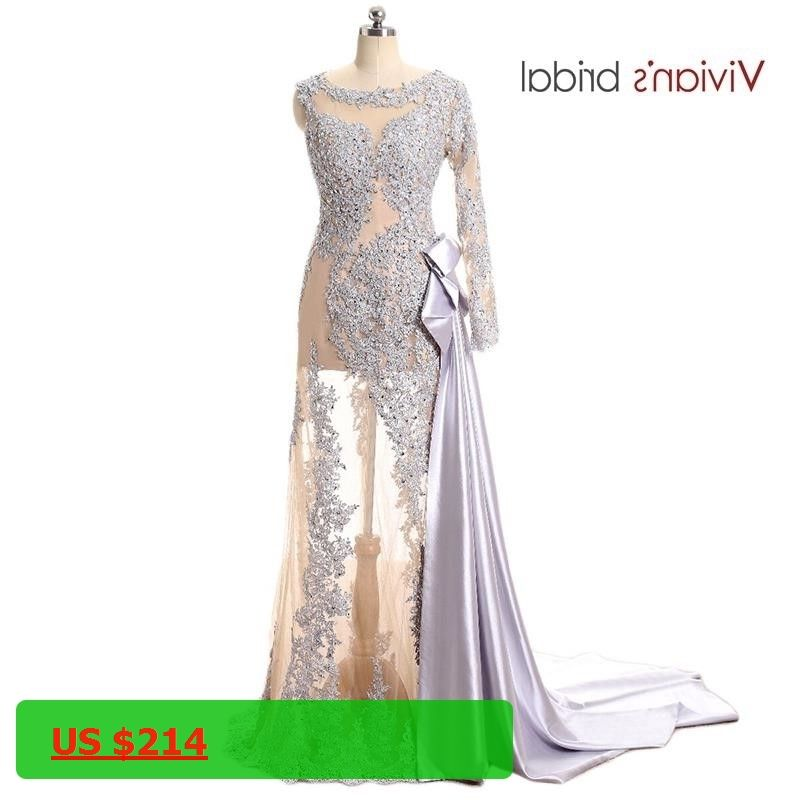 1369dea9061 Vivians Bridal One Shoulder Long Sleeve Lace Sequin Mermaid Evening Dress  See Through Prom Dress Long