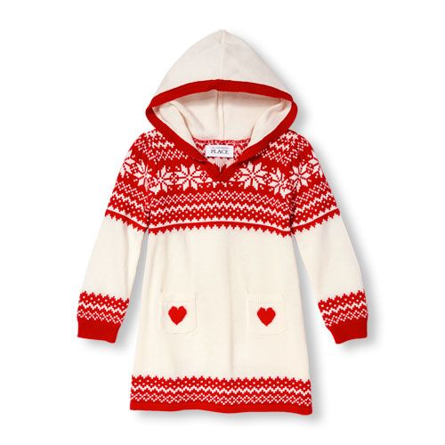 Baby Girls Toddler Long Sleeve Fair Isle Hooded Sweater Dress ...