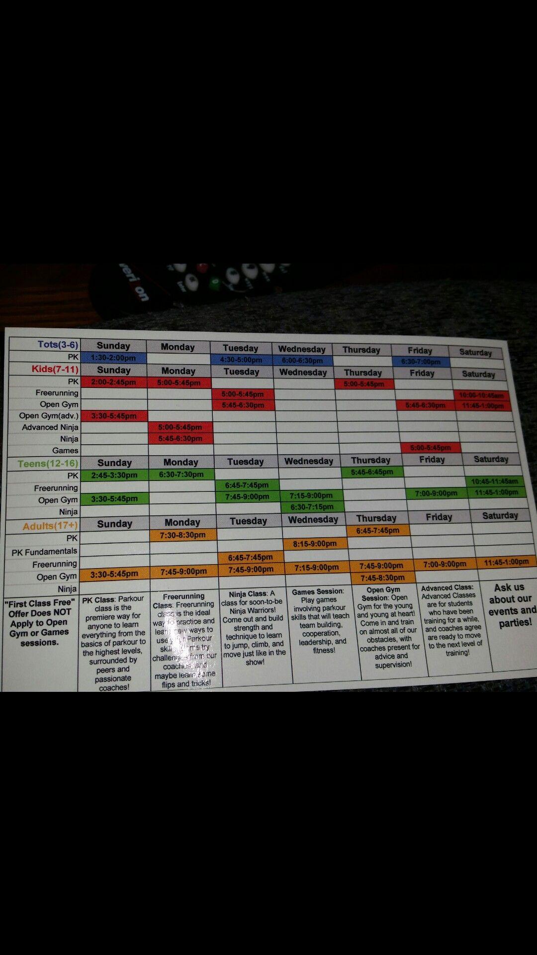 2017 PPK schedule for Washington Township gym.