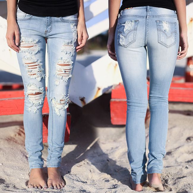 Look what's BACK! Your fave light wash distressed jeans! Shop at savedbythedress.com