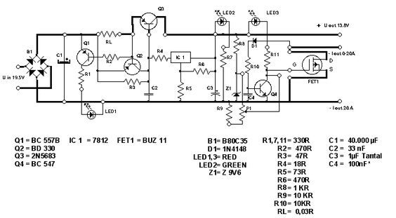 Simple 13.8V and 20A DC Power Supply Circuit Diagram | electronics ...