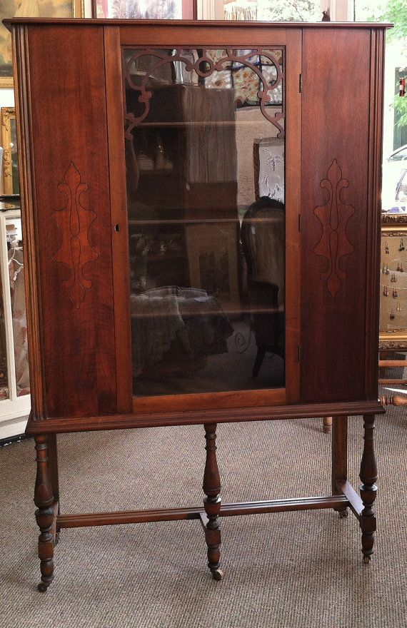 Circa 1930 Gettysburg Furniture Company Hutch China Cabinet Curio With Four Shelves Shabadashery Antiques And