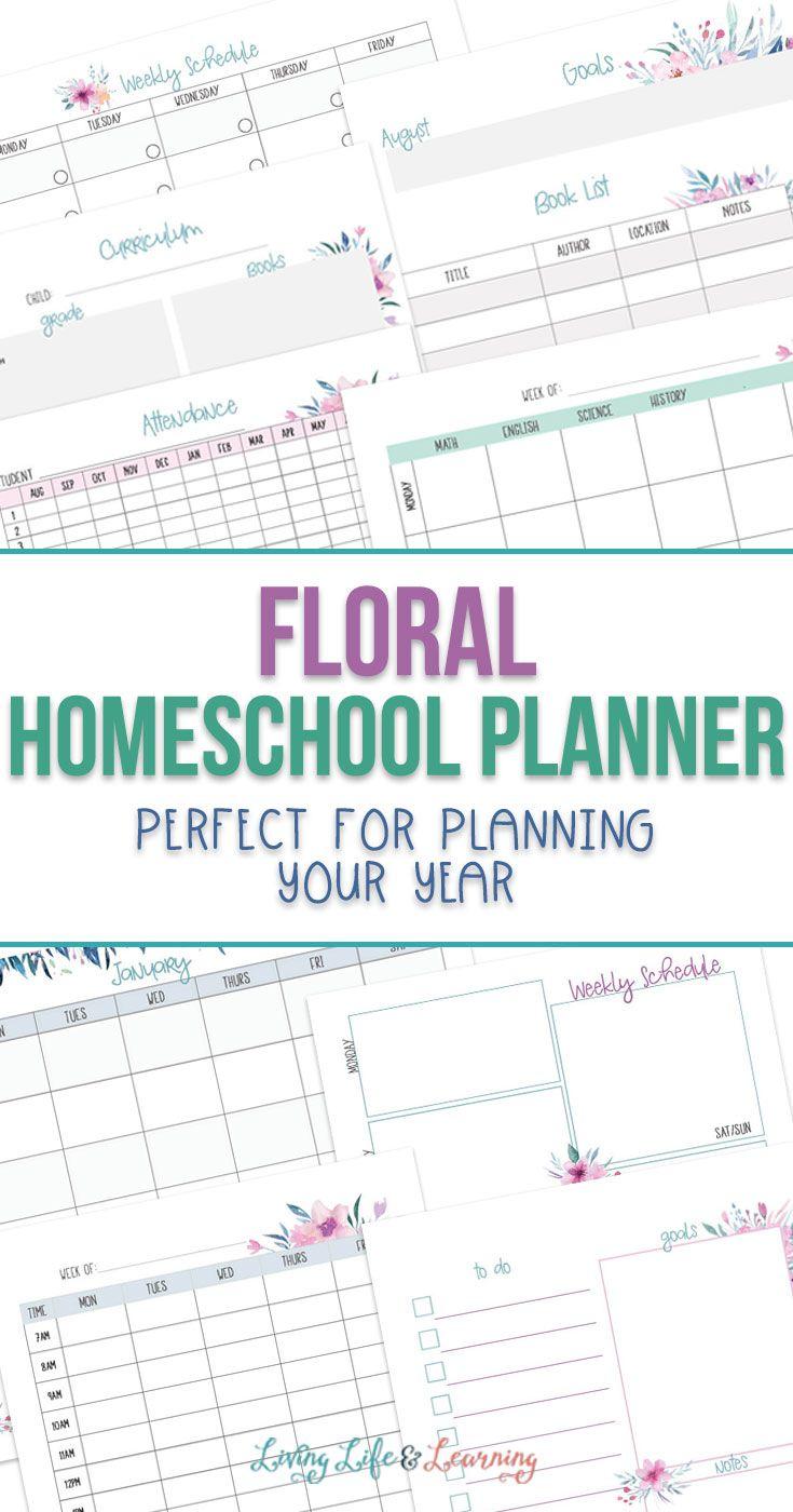 Floral Free Printable Homeschool Planner in 2020