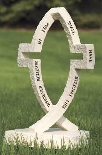 JESUS Cross Fish Garden Statue Christian Art Figure Jesus Who Ever Believes
