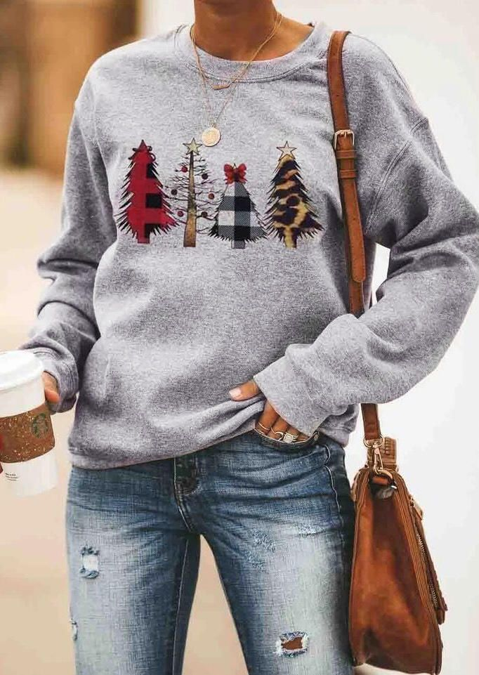 Christmas Trees Plaid Sweatshirt without Necklace - Gray - Bellelily