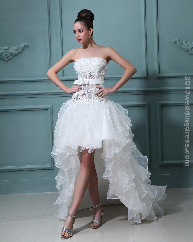 Beautiful Satin Strapless Ruffle Short Bridal Gown Wedding Dresses ...