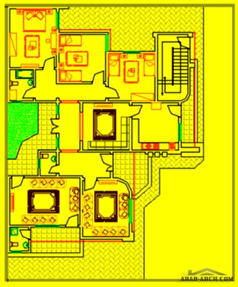 مكتب Zo0m للأعمال الهندسية تصميم منزل من طابق واحد إجمالي مساحةالمسقوف 228 متر مربع مساحة الأرض 500 متر مربع Arab Arch House Plans House How To Plan