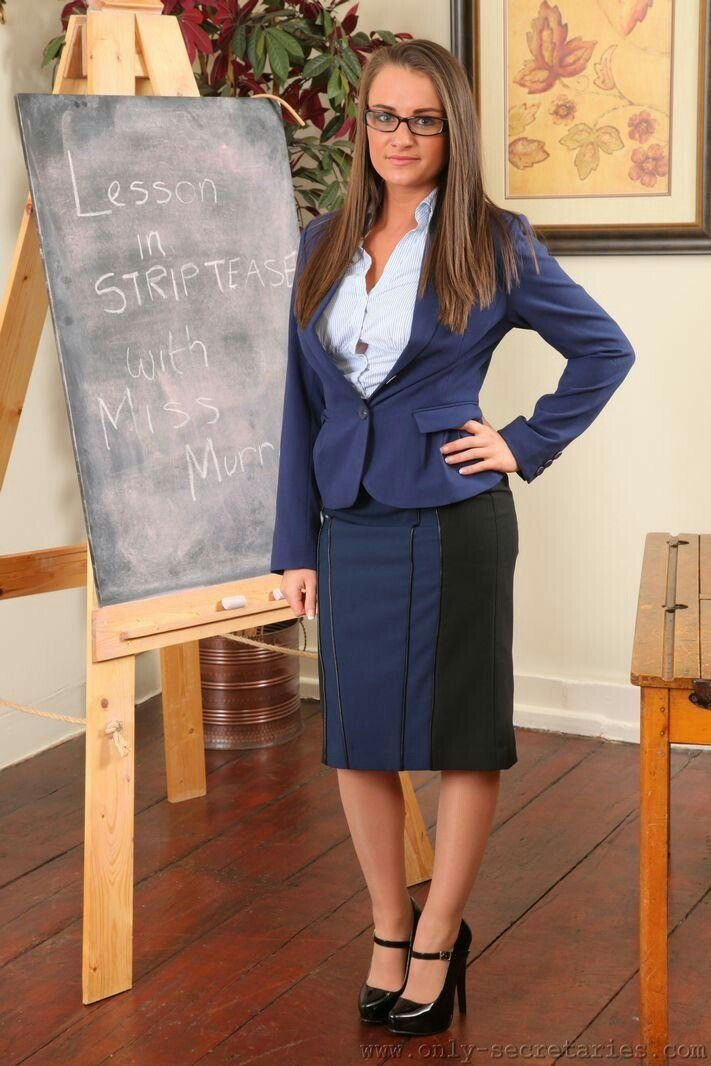 Secretary Being Taught A Lesson In Stripping Satin Blouses