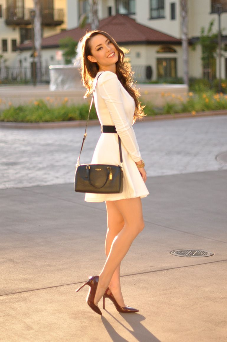 style may 2014 white skater dresses brown shoe