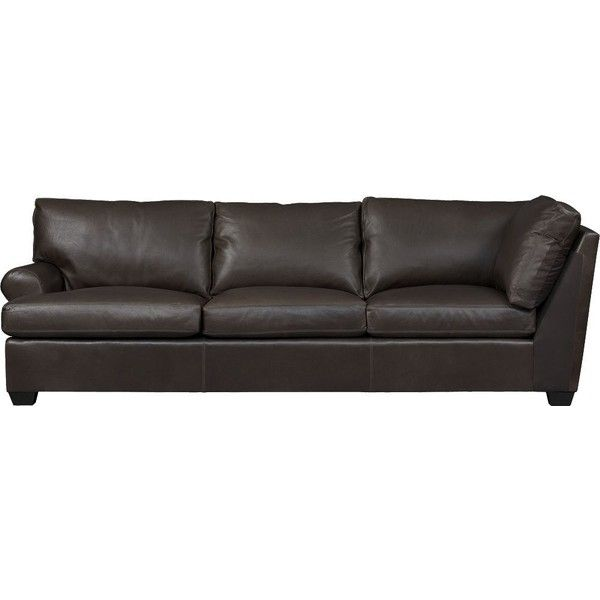 Crate & Barrel Ellis Leather Left Arm Corner Sofa ($4,199) ❤ liked on Polyvore