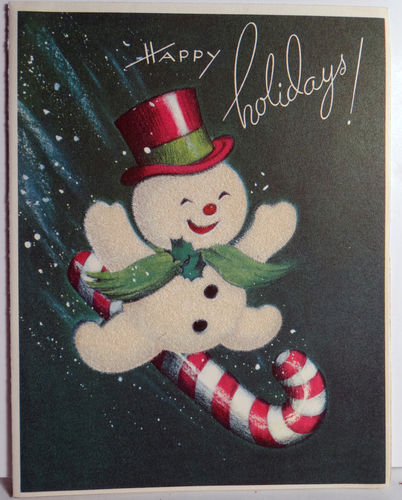 christmas kids crafts 50s snowman on a vintage cards 1308