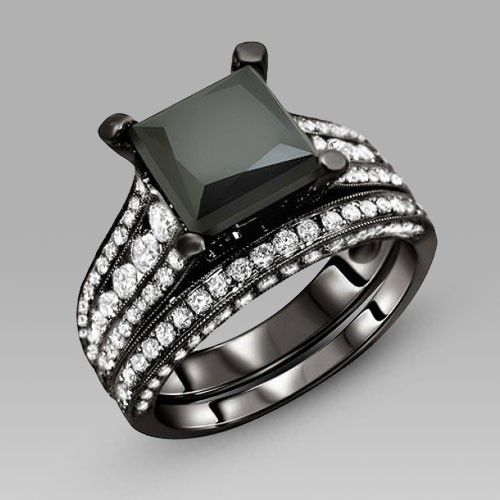 Black Engagement Ring for Women Black Cubic Zirconia Princess Cut