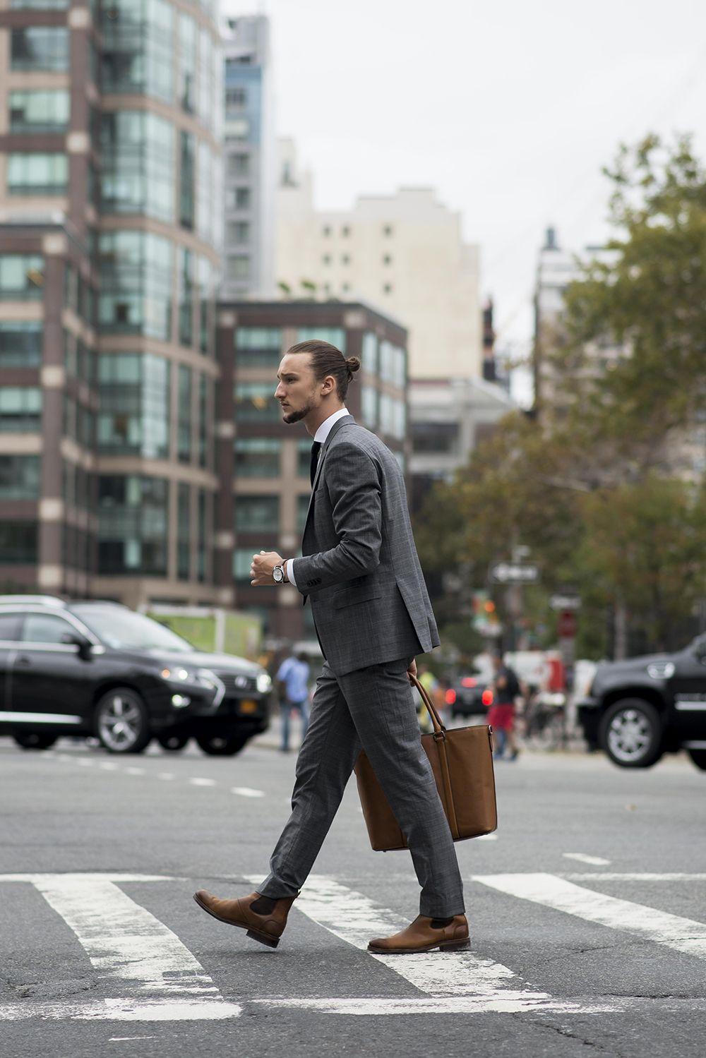 Men's Grey Suit, White Dress Shirt, Brown Leather Chelsea ...