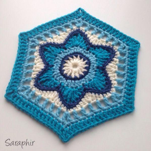 Flora Hexagon crochet pattern. | Crochet Granny Squares | Pinterest