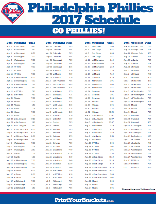 picture relating to Cincinnati Reds Printable Schedule titled 2017 Philadelphia Phillies Agenda Printable MLB