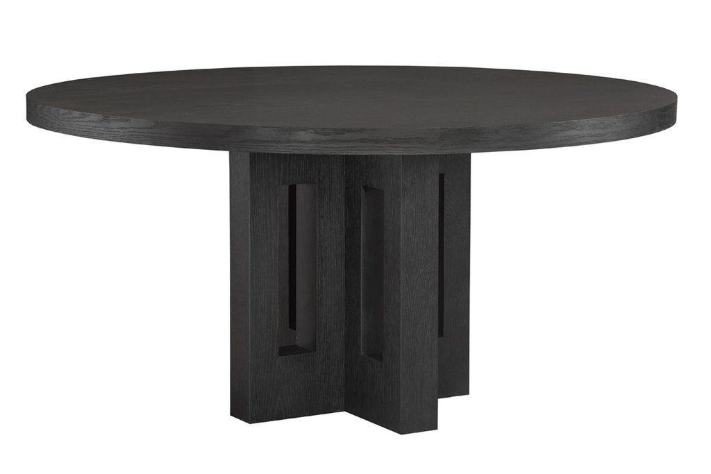 Russel Black Oak Round Dining Table Herringbone And Company