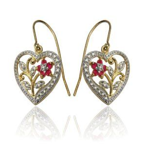 18k Yellow Gold Plated Sterling Silver Ruby and Diamond Accent Heart Earrings $27