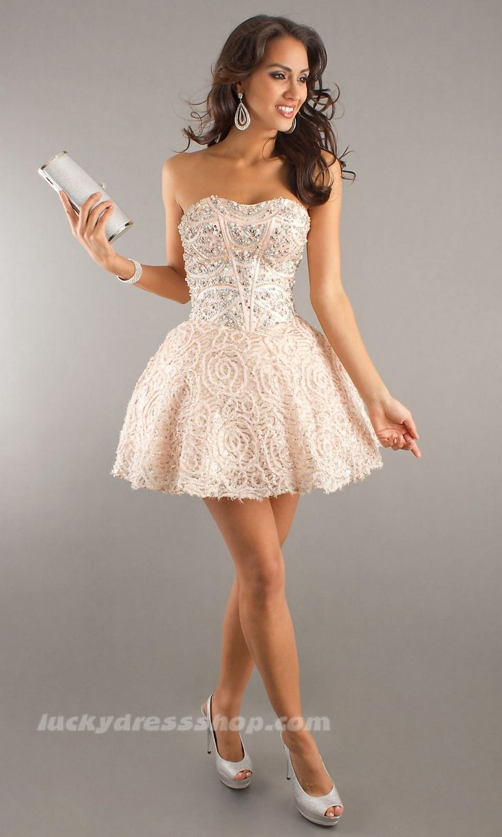 Sexy Ivory Ball Gown Strapless Short/Mini Natural Cocktail Dress ...