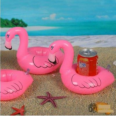 2X Mini Flamingo Floating Drink Can Pool Bath Party Summer Inflatable Cup Holder