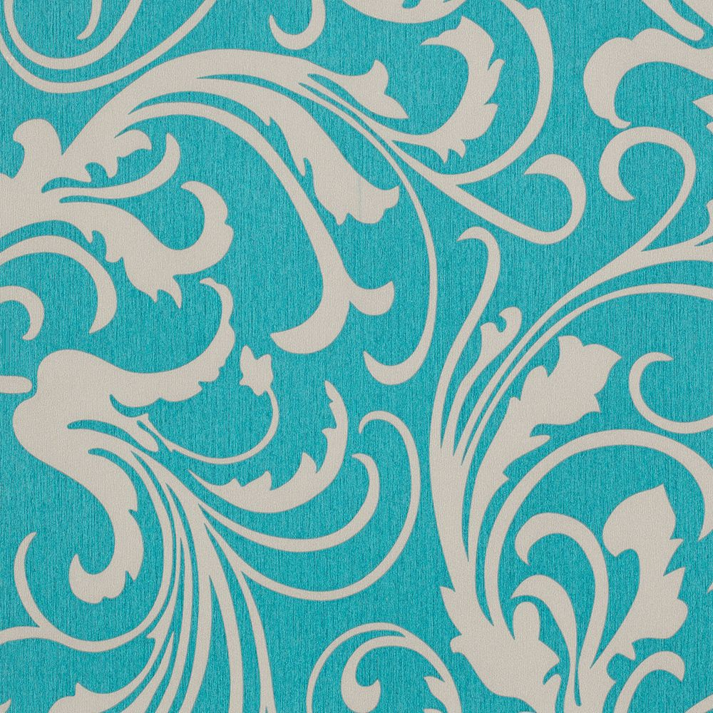 Adore Splashy Corsage Wallpaper, Turquoise Green / Gray