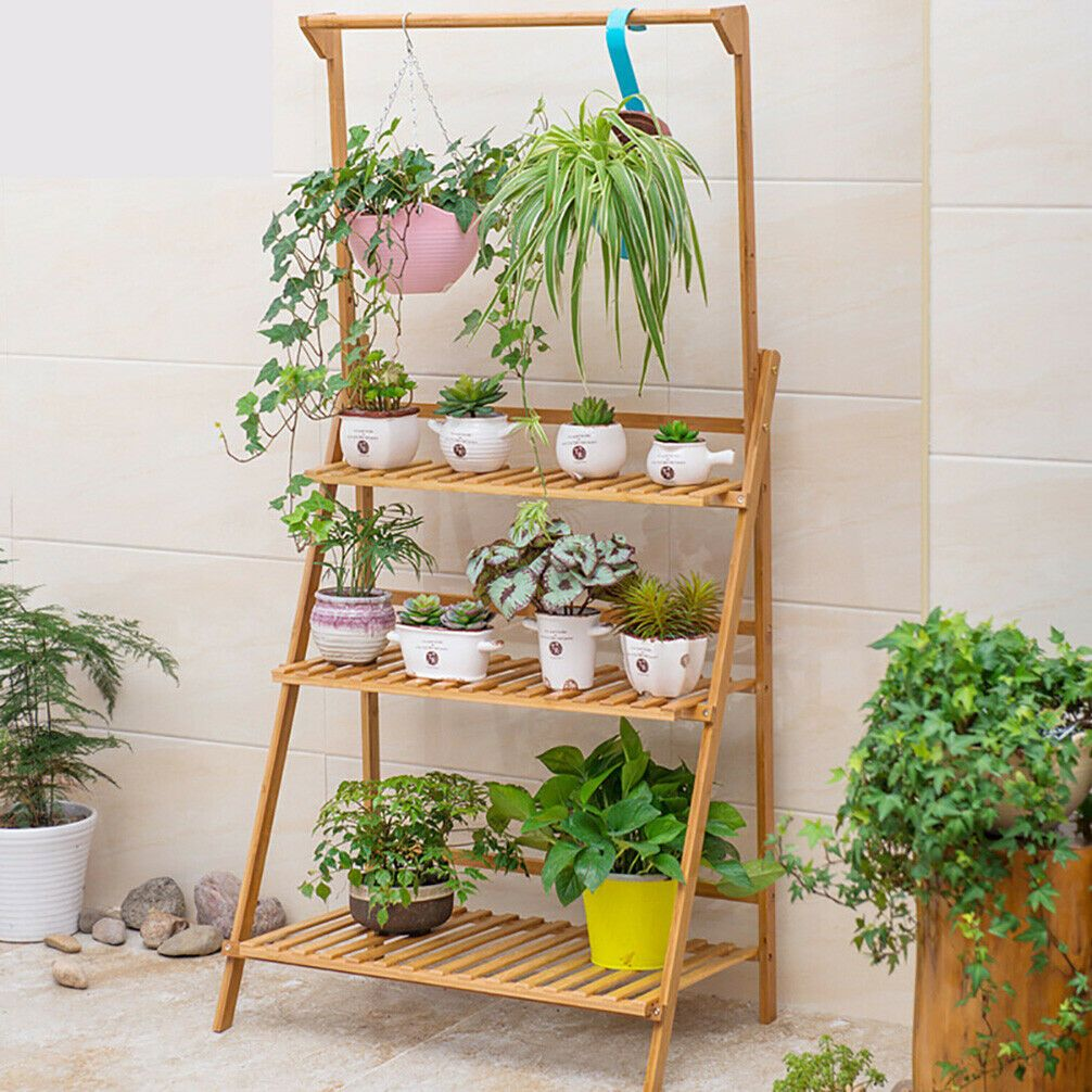 Bamboo Plant Stand Flower Pot Shelf Home Garden Holder Storage Display Outdoor Plant Holder Ideas Of Plant Holder Plant Stand Plant Holders Hanging Plants