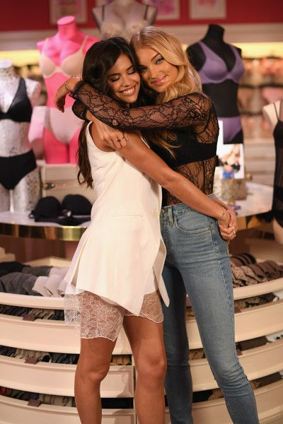 0db967f4a5 Victoria s Secret Angels Elsa Hosk and Sara Sampaio celebrate the  Victoria s Secret T-Shirt Bra at Victoria s Secret