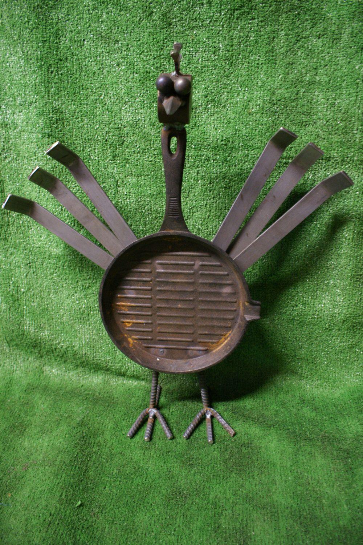 Recycled Metal Chicken. Cast Iron. Pan. Gift. Bird. Chicken. Outdoor ...