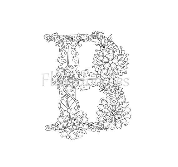 adult coloring page - floral letters, alphabet B, hand lettering ...