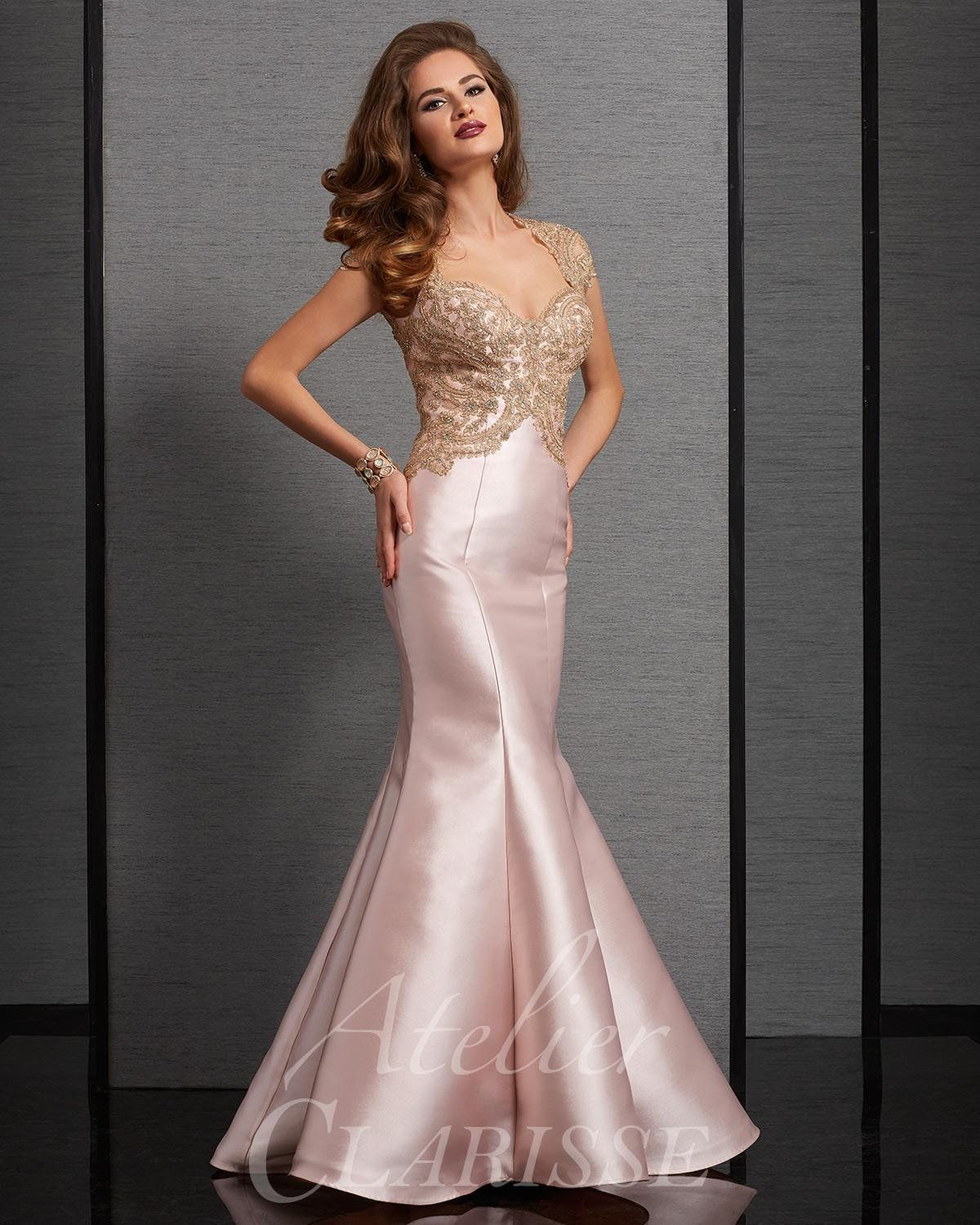 Atelier Gold Blush Evening Gown Mermaid Prom Dresses Mermaid Evening Gown Mermaid Formal Gowns