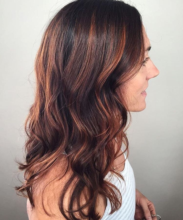 Fall Hair Color Red Copper Highlights Balayage Tangerine