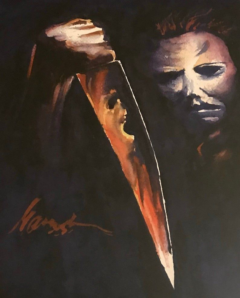 Halloween 2020 Michael Myers Refelction Halloween Michael Myers Knife Reflection Glossy Art Print | Etsy