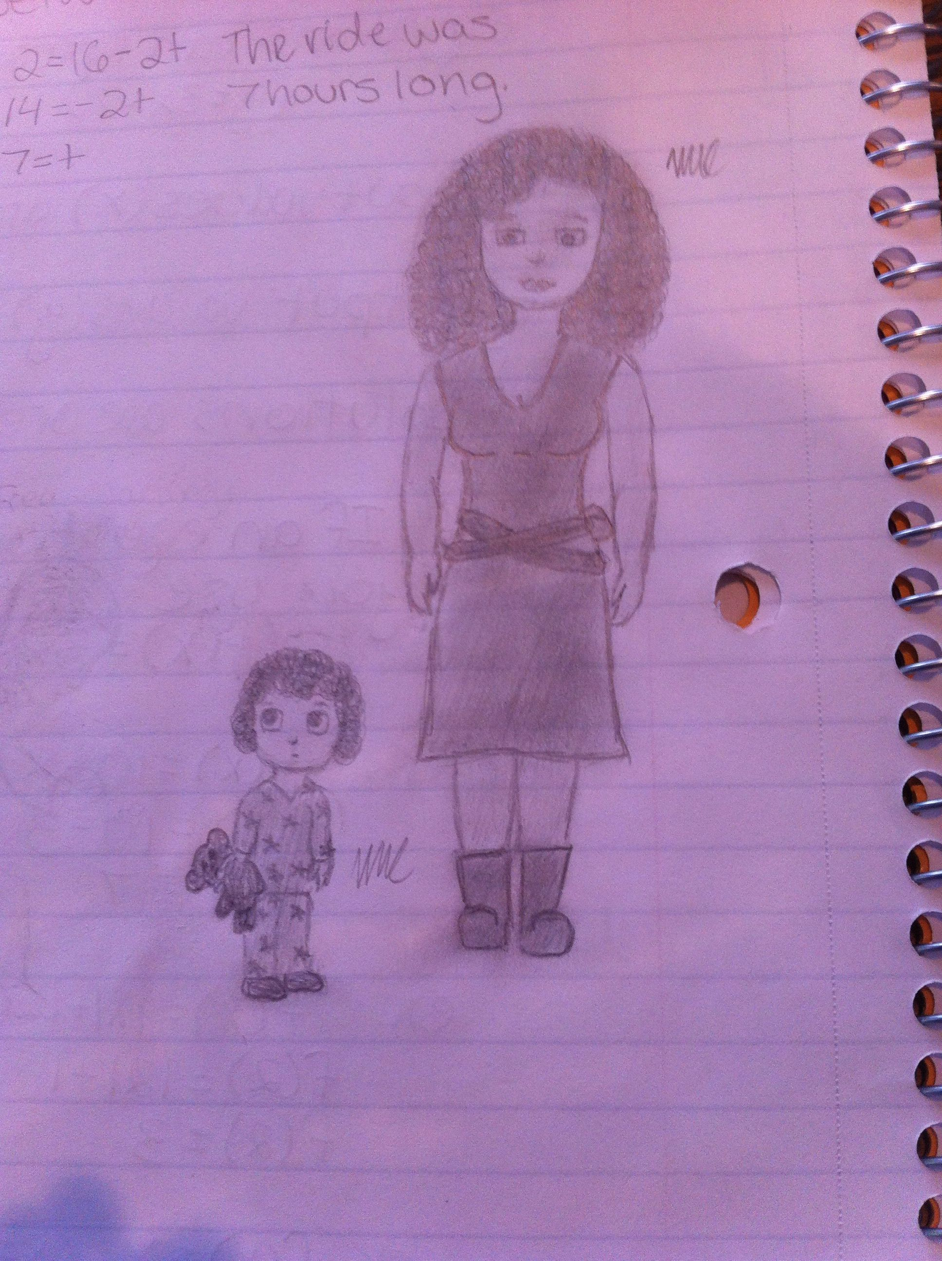 Got bored in math so i decided to draw River and Freya :)