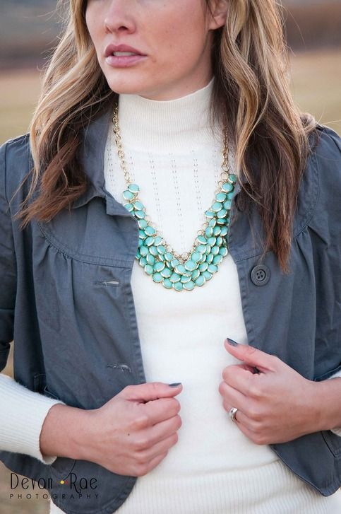 Ella Claire Etsy Shoppe - love this blue green necklace