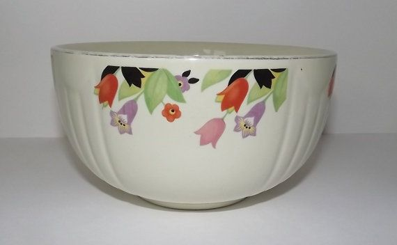 1930s Heavy Mixing Bowl By Halls Superior Quality Kitchenware In Highly Desired Crocus Pattern Bowl Beautiful Bowls Kitchenware