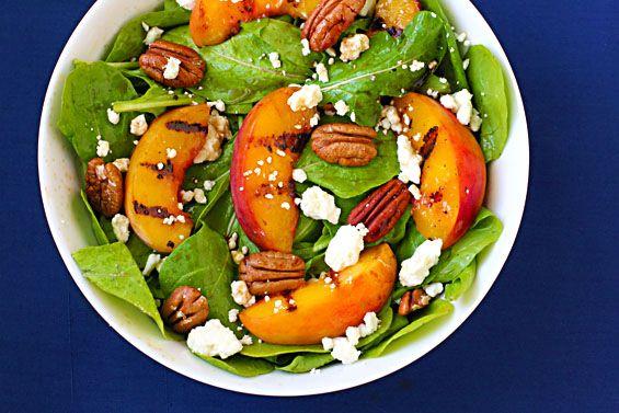 peach, arugula and feta salad