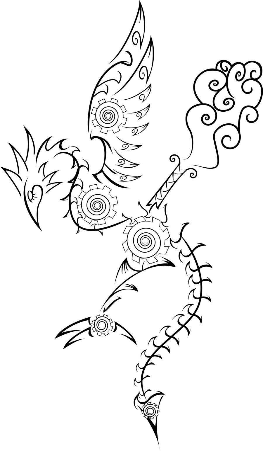 Except more filigree and less steampunk.  More dragon-like face too.   No steam coming out of the back and maybe more drawn out wings instead