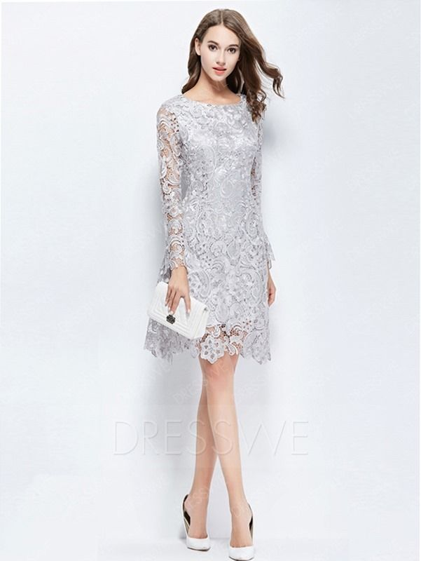 Buy Elegant Lace Hollow Round Neck Long Sleeves Sheath Knee Length Cocktail  Dress Online 40ceb7577
