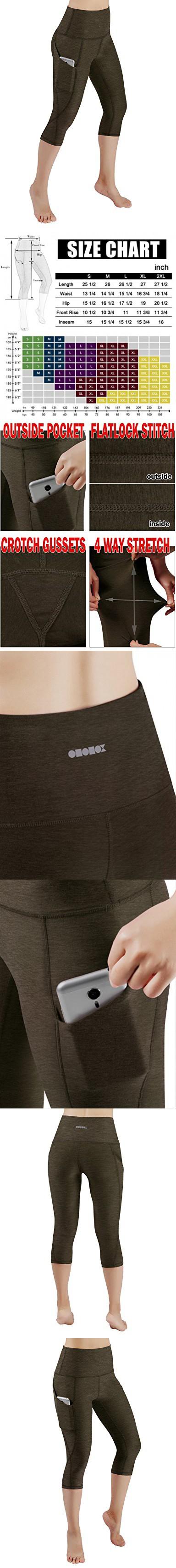 5758cbf29c57b7 ODODOS High Waist Out Pocket Yoga Capris Pants Tummy Control Workout  Running 4 way Stretch Yoga Capris Leggings,Olive,X-Large