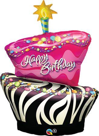 Zebra Stripe Funky Birthday Cake Balloon Zebra Birthday Happy