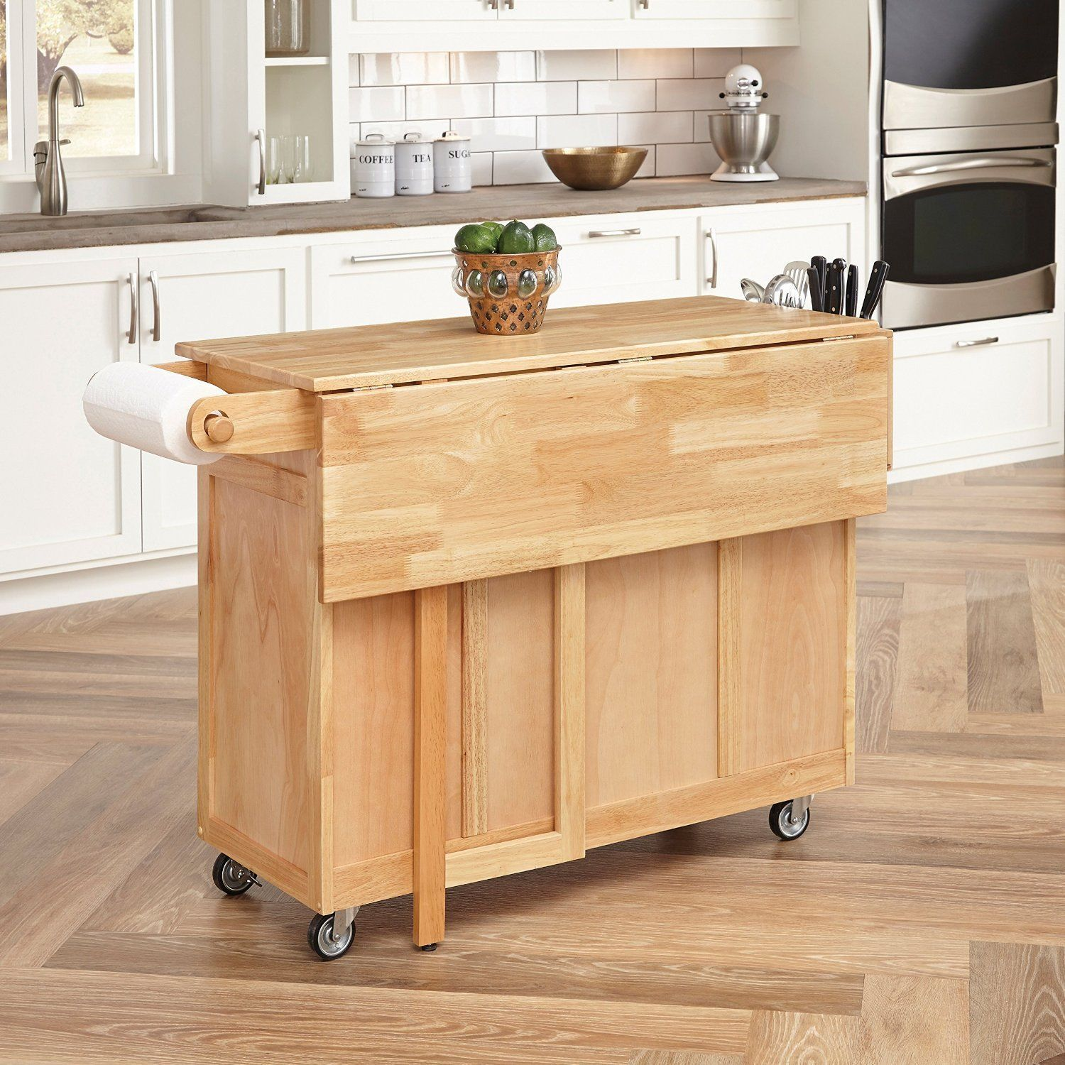 Kitchen Cart Island Breakfast Bar Table Rolling Storage Drawers Shelves Sturdy Kitchen Cart Natural Wood Kitchen Kitchen Style