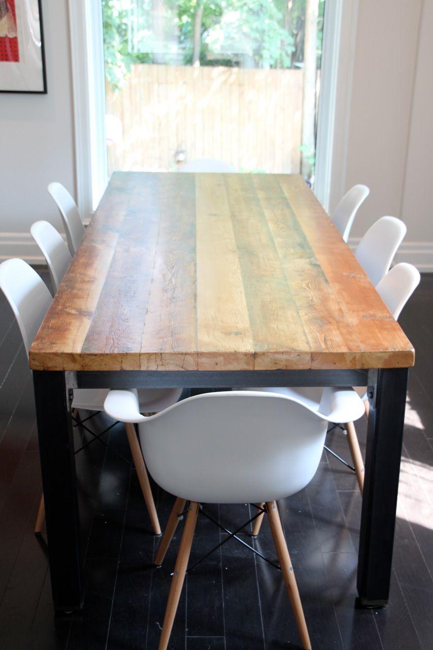 Reclaimed Modern Metal Harvest Table from Forever Interiors ...