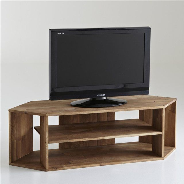 Meuble TV d angle chªne massif Edgar La Redoute Interieurs