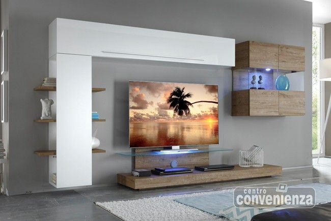 Morgan parete soggiorno moderna, in finitura lucida, colore bianco ...