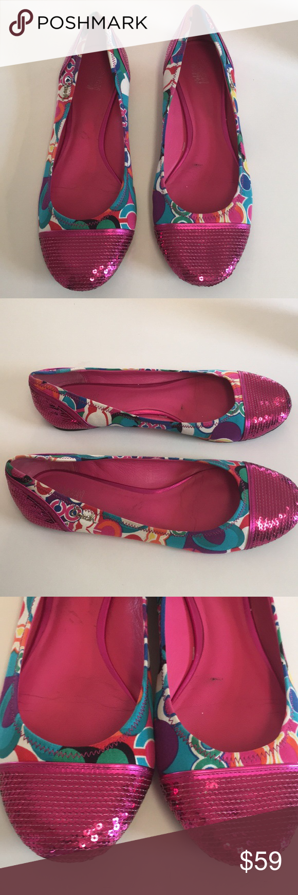 Coach Shine pink poppy print sequined ballet flats Adorable