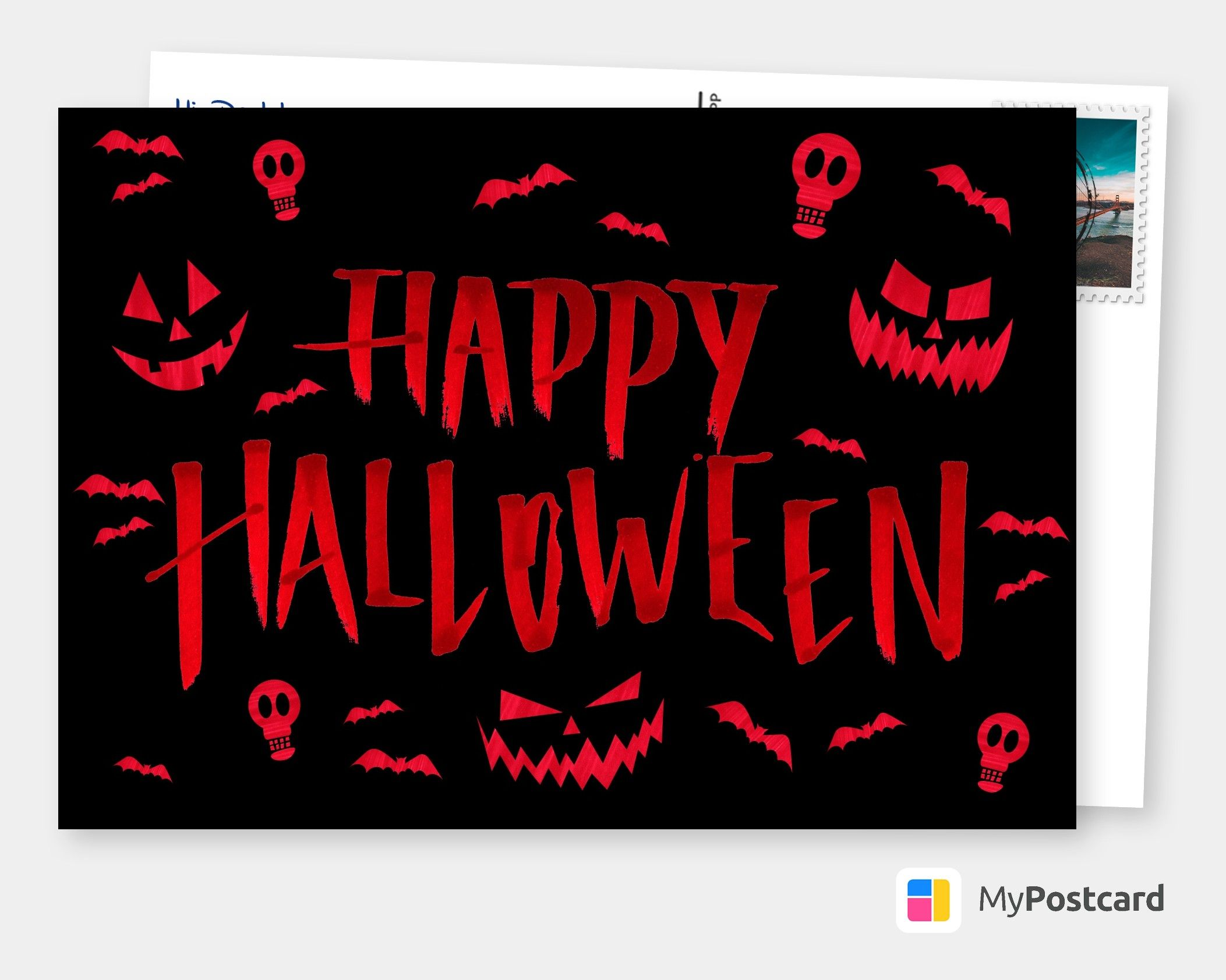 Happy Halloween Lettering Halloween Cards Quotes Send Real Postcards Online In 2020 Halloween Cards Diy Halloween Cards Halloween Greetings