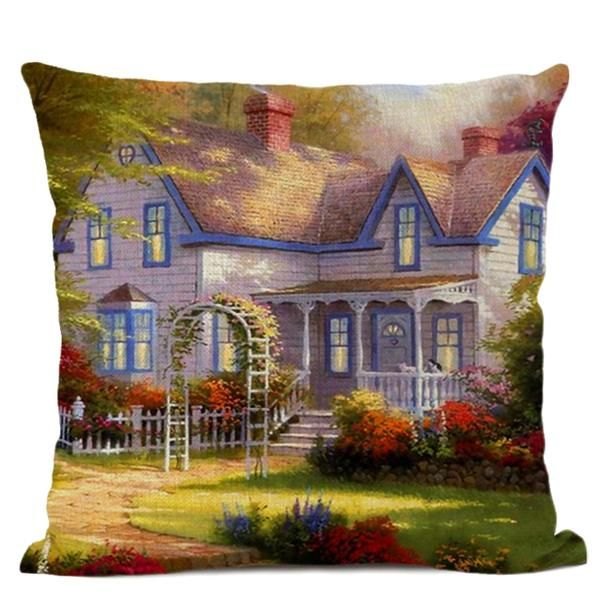 Art Oil Painting Cushion Cover American Country Garden
